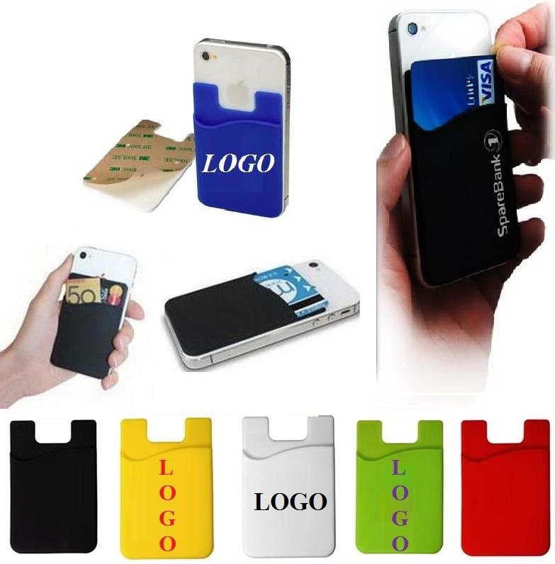 detailed look b6e5e 55c51 Silicone Cellphone Credit Card Iwallet Holder with Sticker